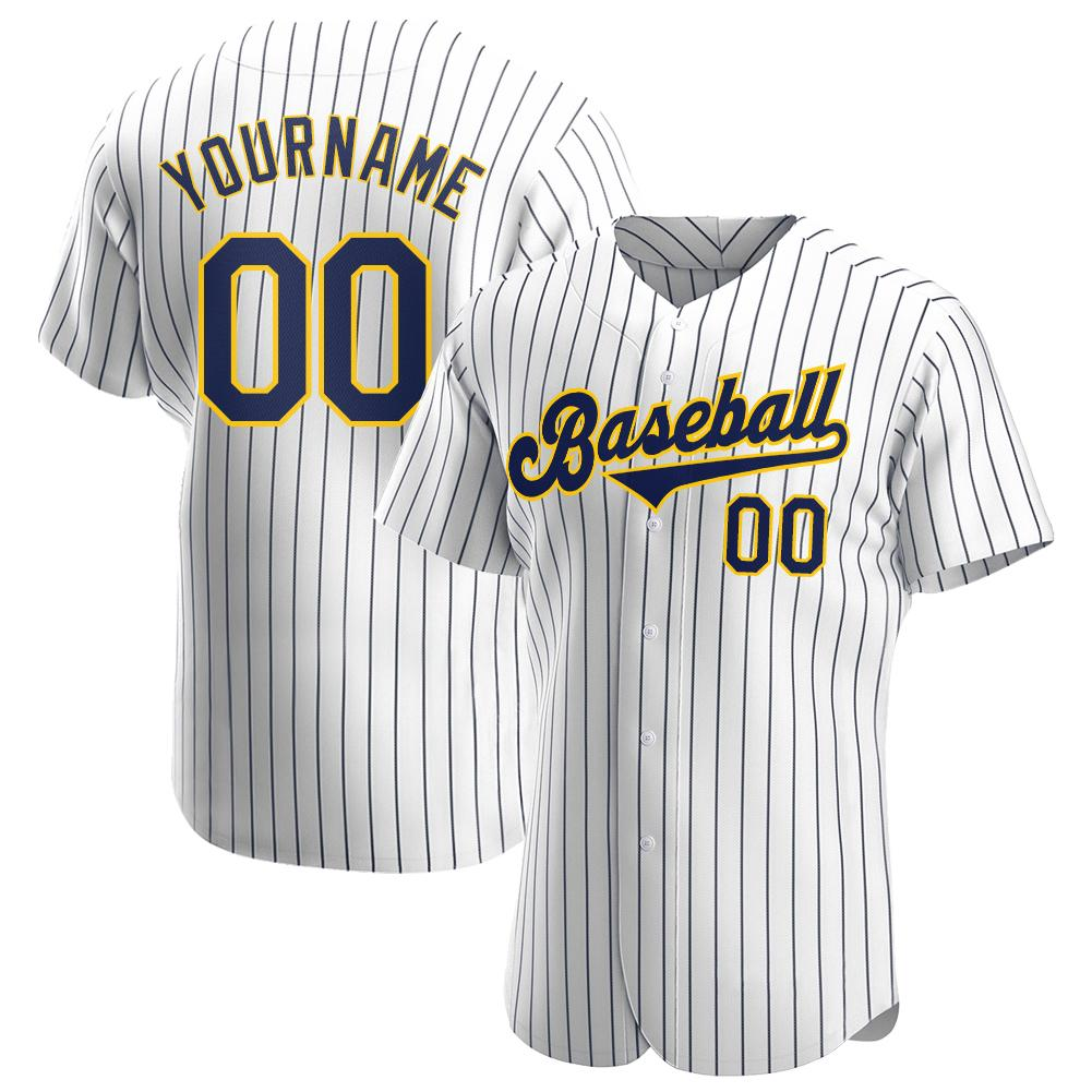 Custom White Navy Pinstripe Navy-Gold Authentic Baseball Jersey