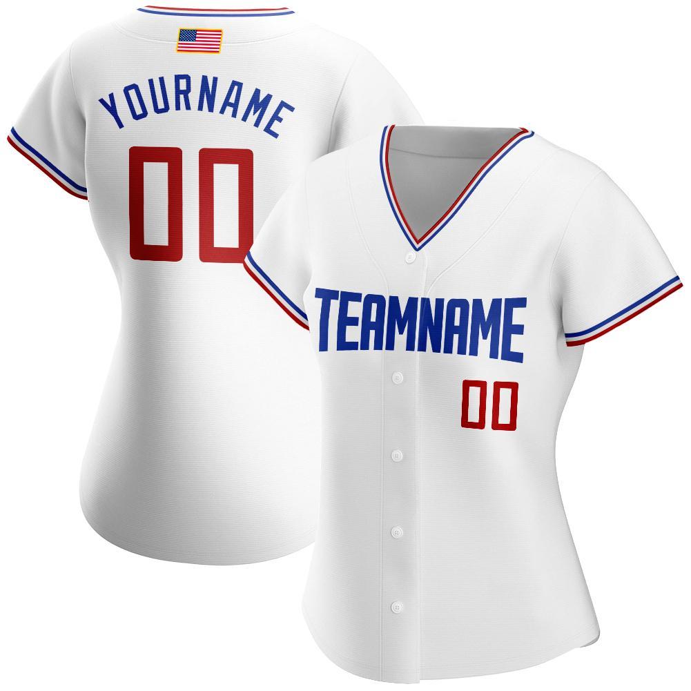 Custom White Red-Royal Authentic American Flag Fashion Baseball Jersey