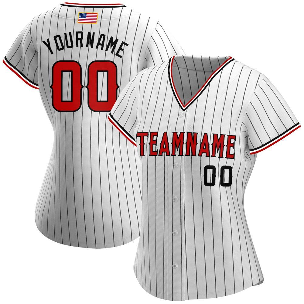 Custom White Black Pinstripe Red-Black Authentic American Flag Baseball Jersey