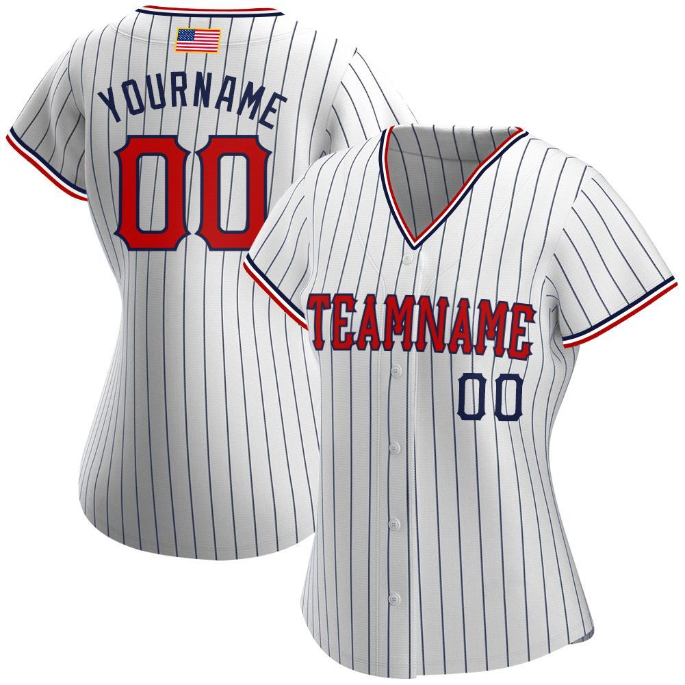 Custom White Navy Pinstripe Red-Navy American Flag Baseball Jersey