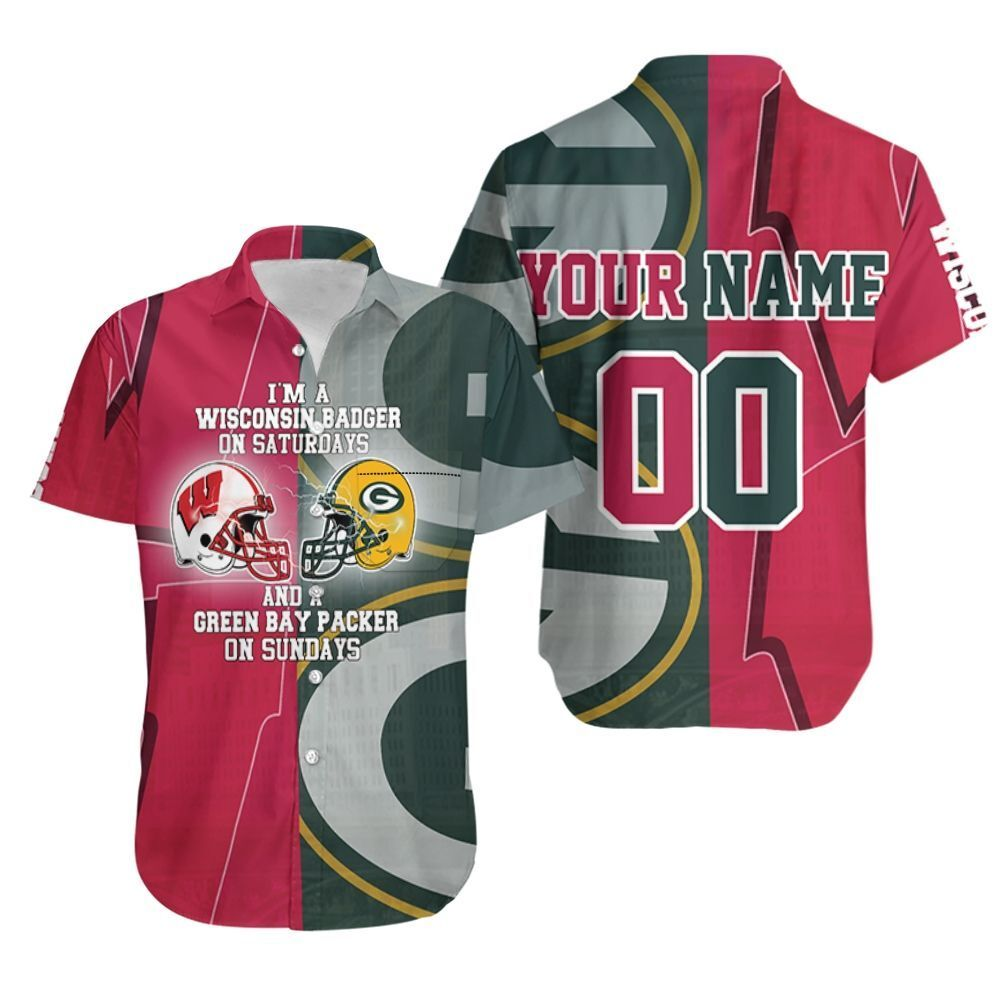 Wisconsin Badger On Saturdays And Green Bay Packer On Sundays 3d Personalized Hawaiian Shirt