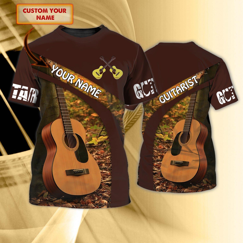 GUITAR Fall Leaf Custom Name 3D Tshirt