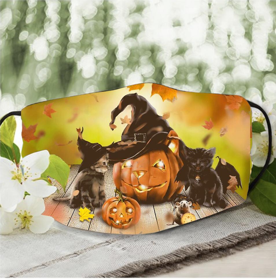 Halloween Black Cat Cute pumpkin face mask