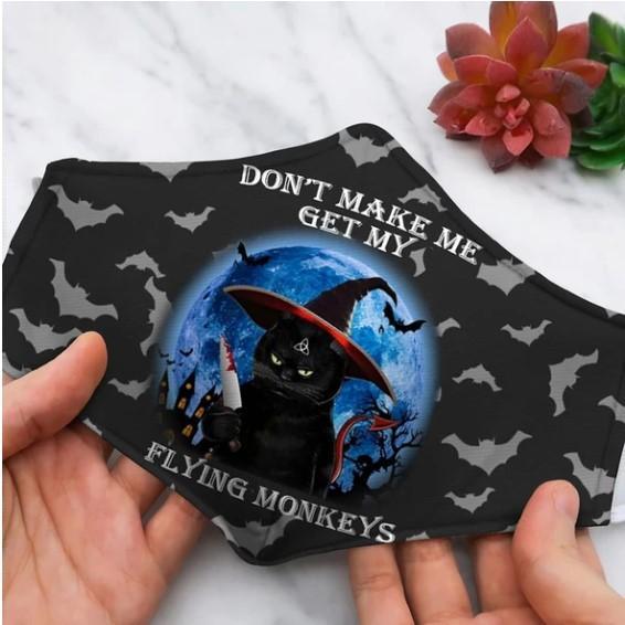 Halloween black cat flying monkeys face mask