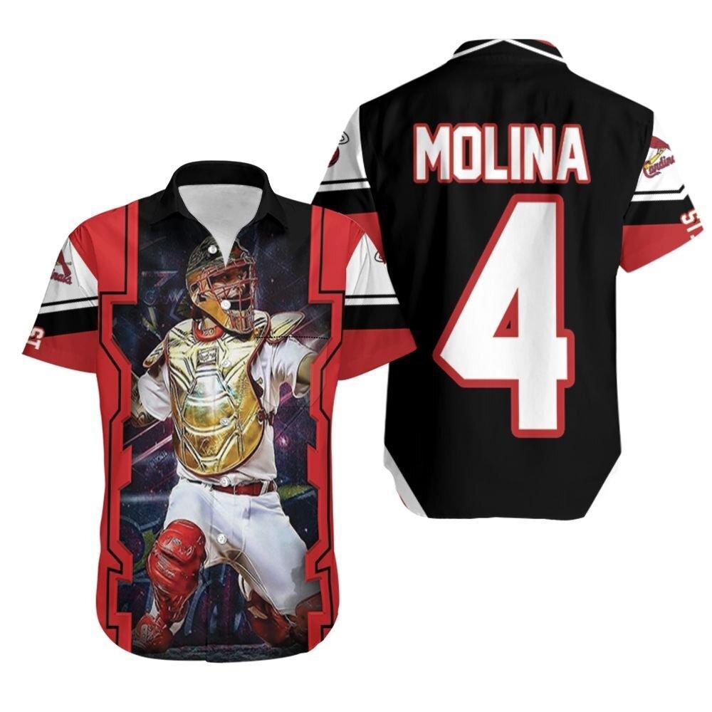Yadier Molina St Louis Cardinals Logo Golden Shield Throwing Hawaiian Shirt