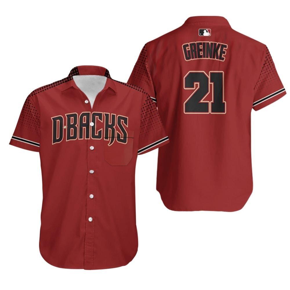 Zack Greinke Arizona Diamondbacks Sedona Red Black Jersey Hawaiian Shirt
