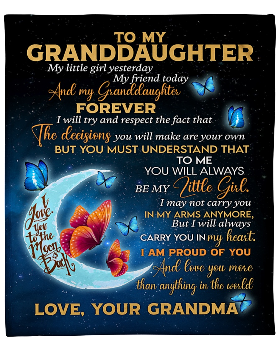 Gift for granddaughter Love you to the moon and back Fleece Blanket