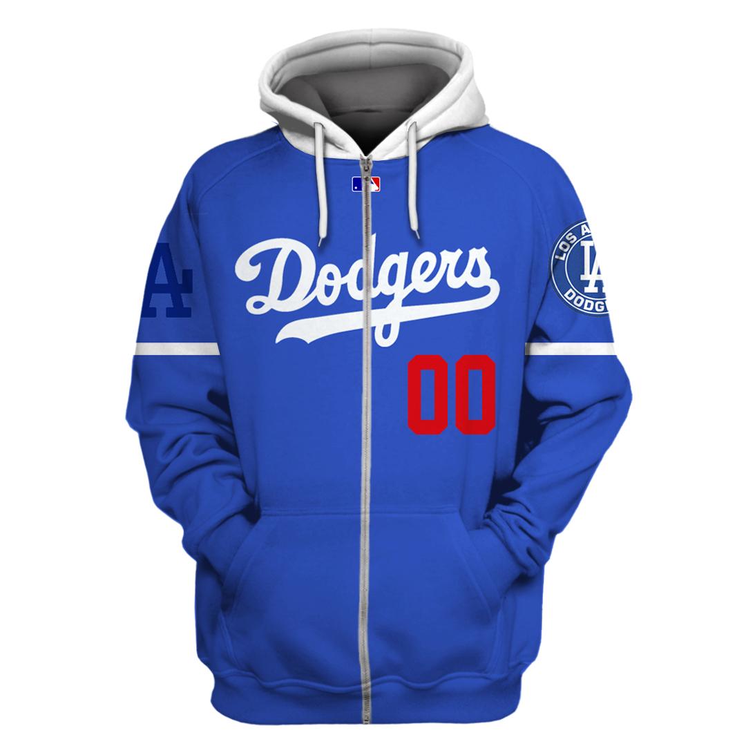 Custom Name Number Los Angeles Dodgers navy hoodie and sweatshirt