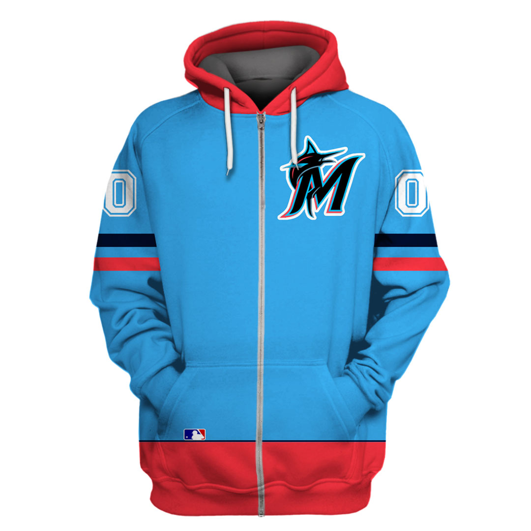 Custom Name Number Miami Marlins Unisex hoodie and T-shirt