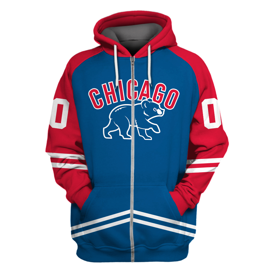 Personalized MLB Chicago Cubs red and navy hoodie and sweatshirt