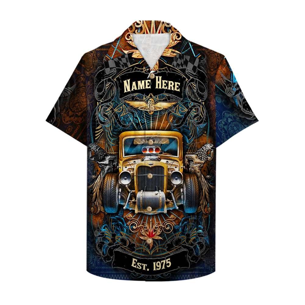 Custom Name Drag Racing Wheels Motor Hawaiian Shirt