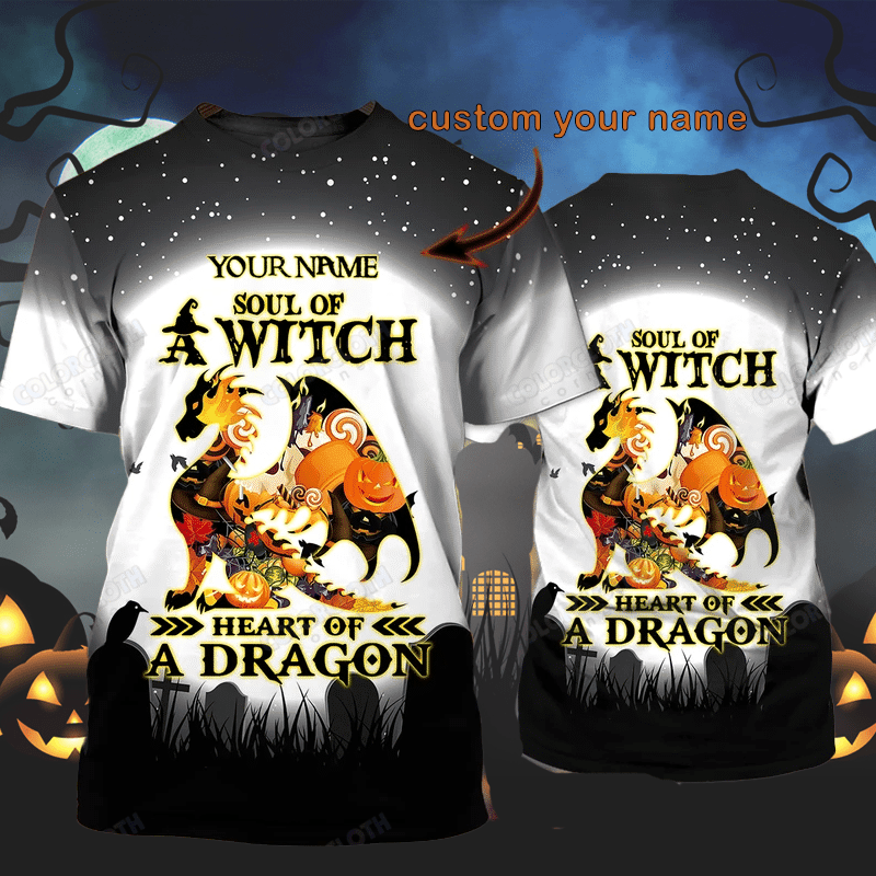 Personalized Soul of Witch Heart of A Dragon Halloween T Shirt 3D