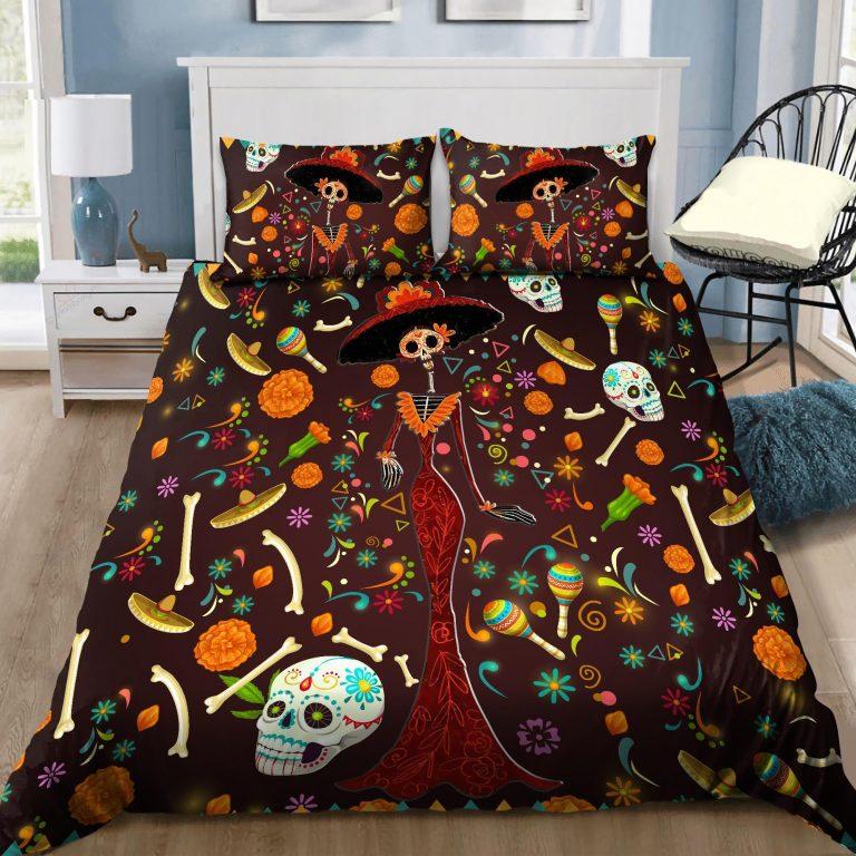 Mexican Skull Girl Colorfull Bedding Set