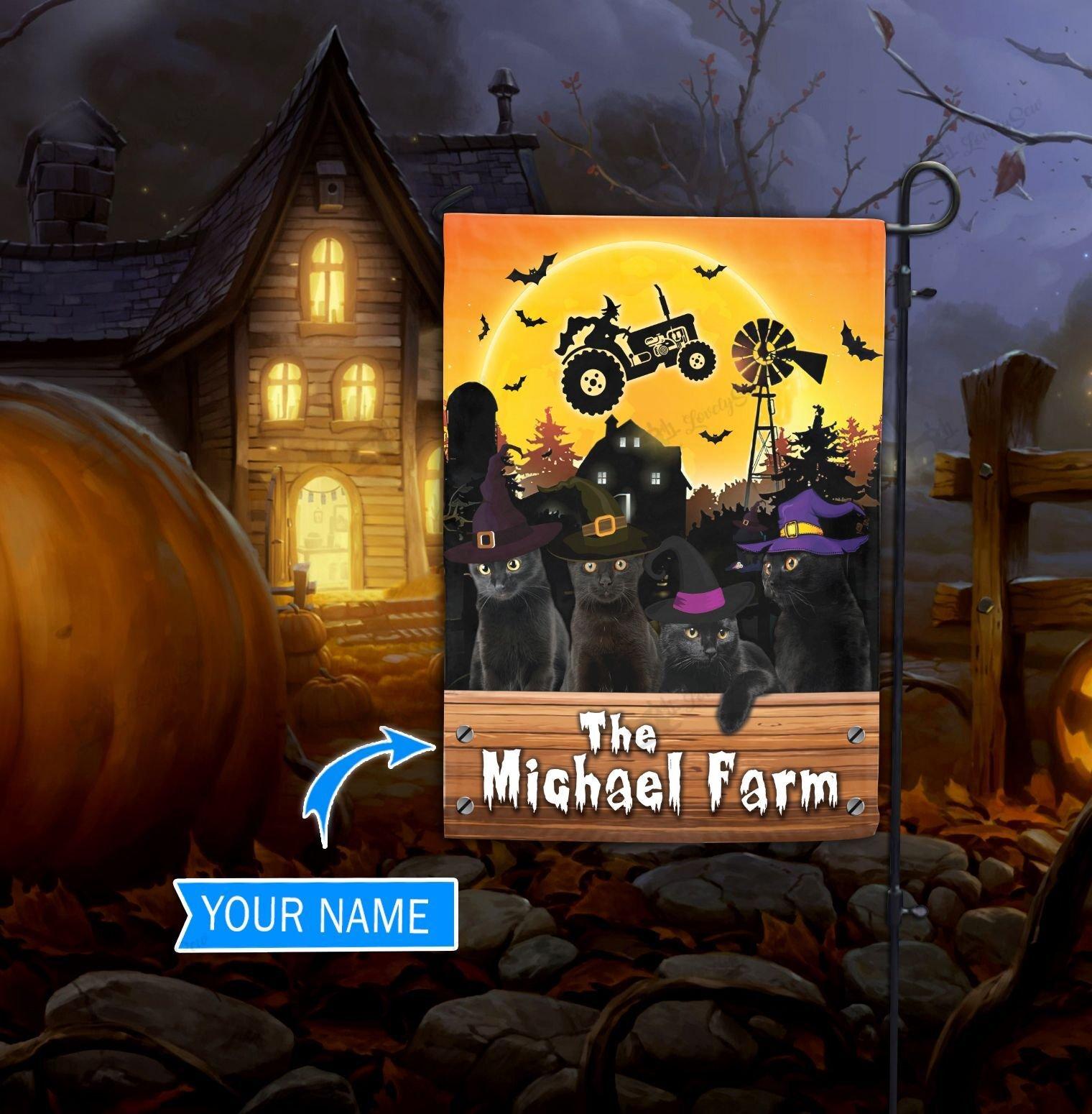 Personalized Black Cat Halloween Farm House Garden Flag
