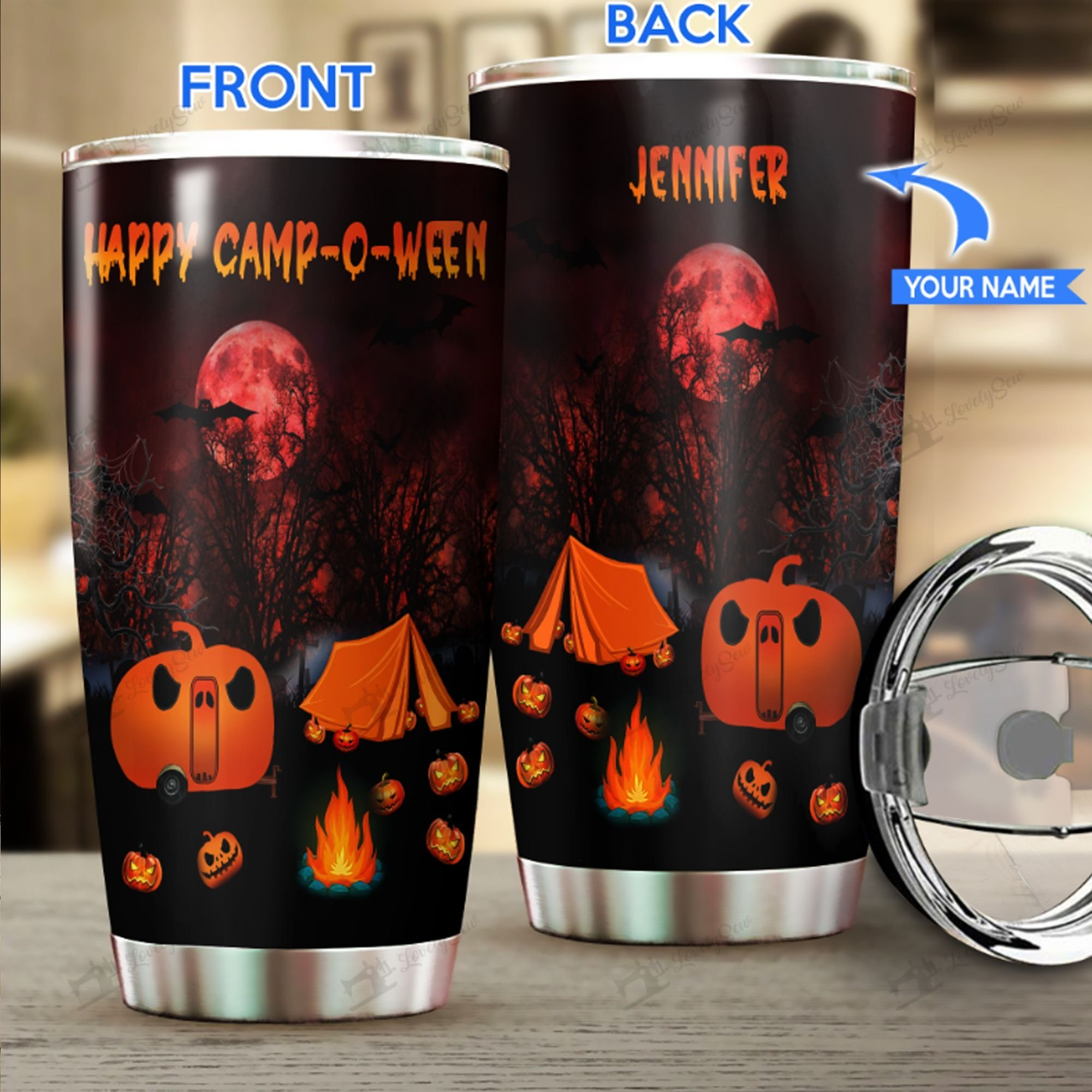 Halloween HAPPY CAMP-O-WEEN Personalized Stainless Tumbler
