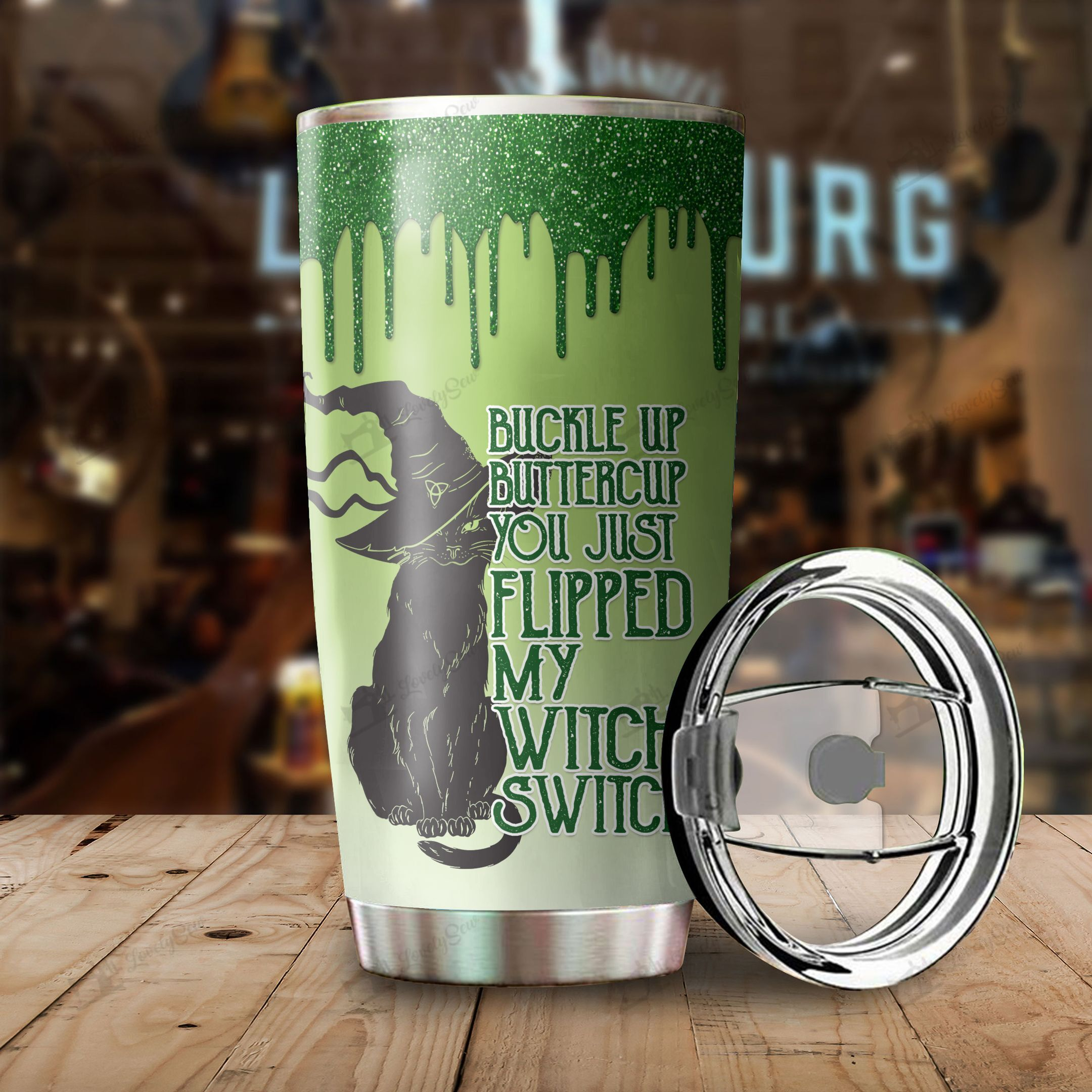 Personalized Black Cat You just flipped my witch switch Tumbler Cup