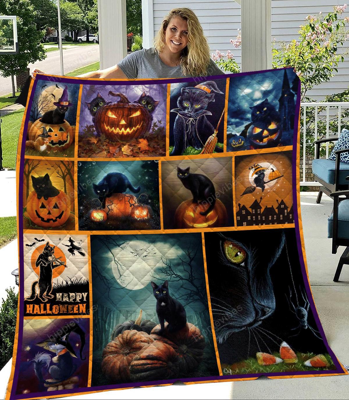 Black Cat Halloween Quilt Blanket