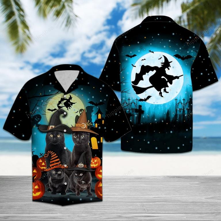 Black Cat Family Halloween Hawaii Shirt