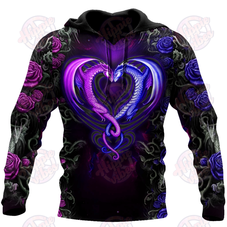 Dragon Couples Purple 3D Hoodie
