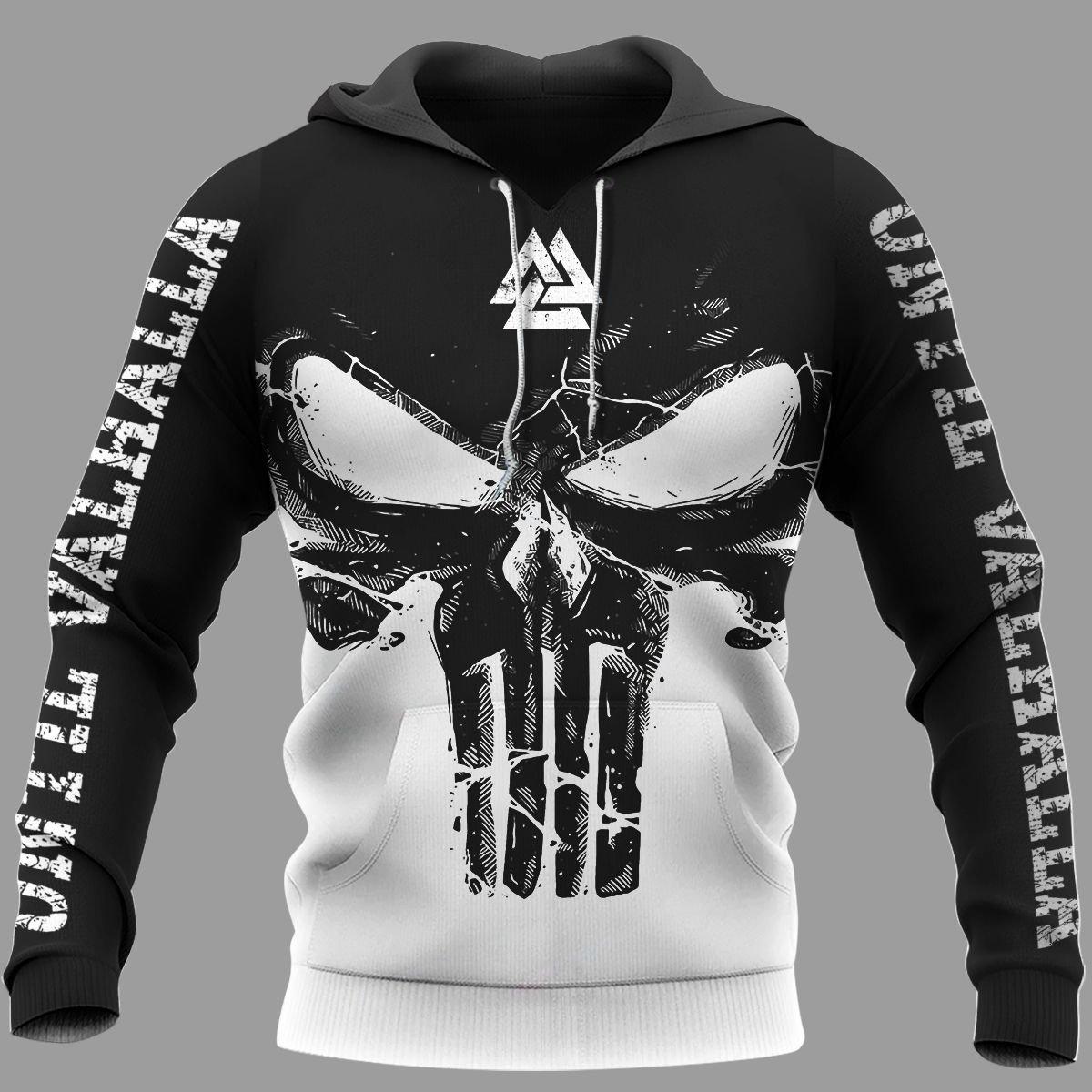 Viking Until Valhalla Valknut Half black and white Hoodie 3D