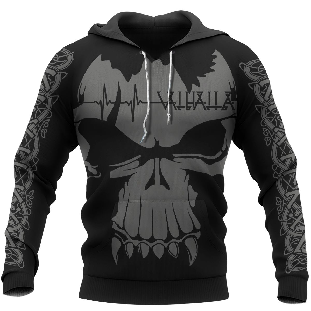 Viking Valhalla Valknut Skull Hoodie Black 3D