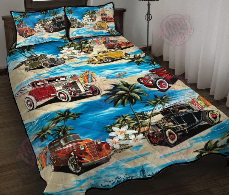 Hot Rod On The Beach Quilt Bedding Set