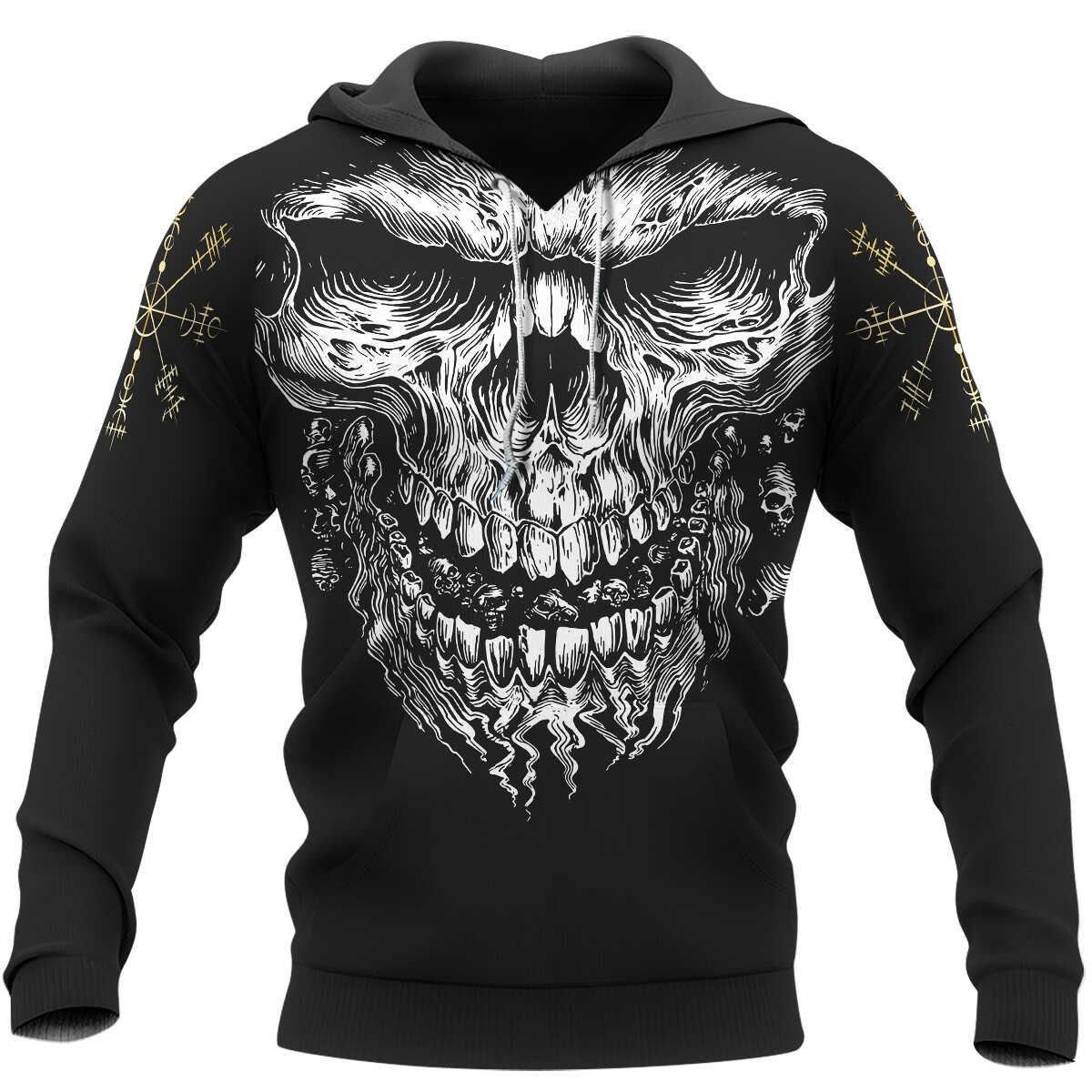 Skull Vegvisir Viking 3D Hoodie and T-shirt