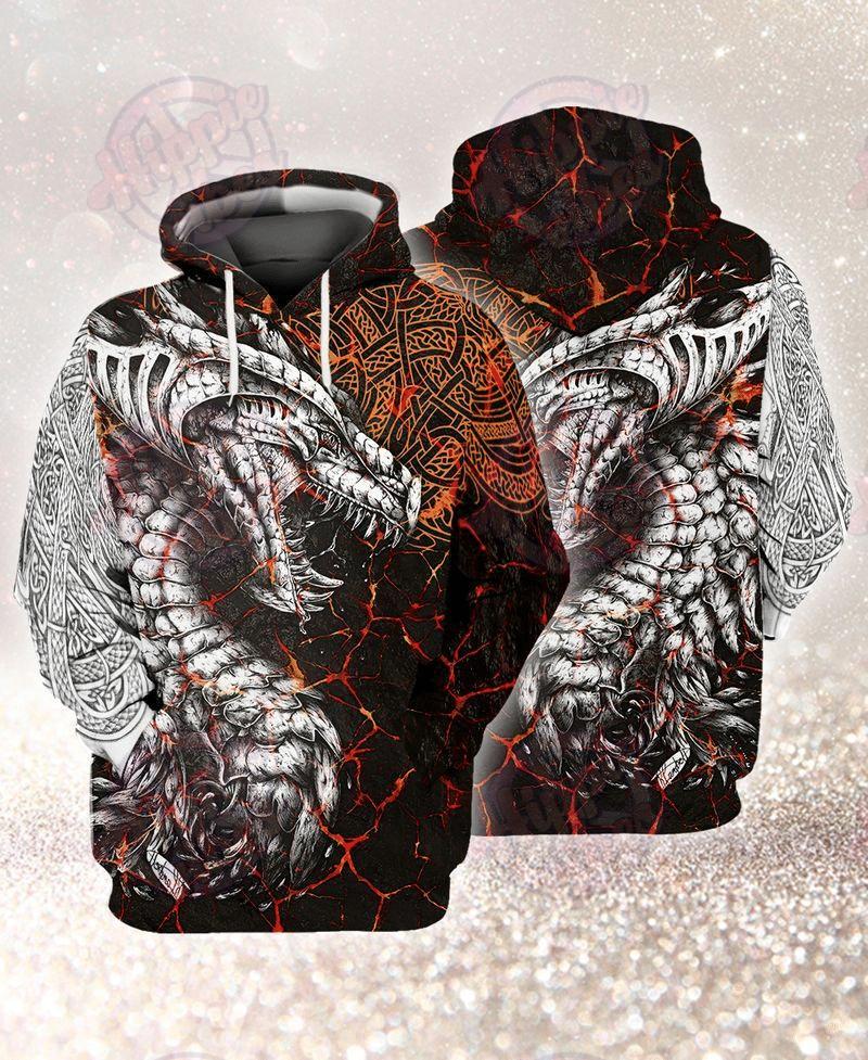 Viking Grey Dragon 3D Hoodie
