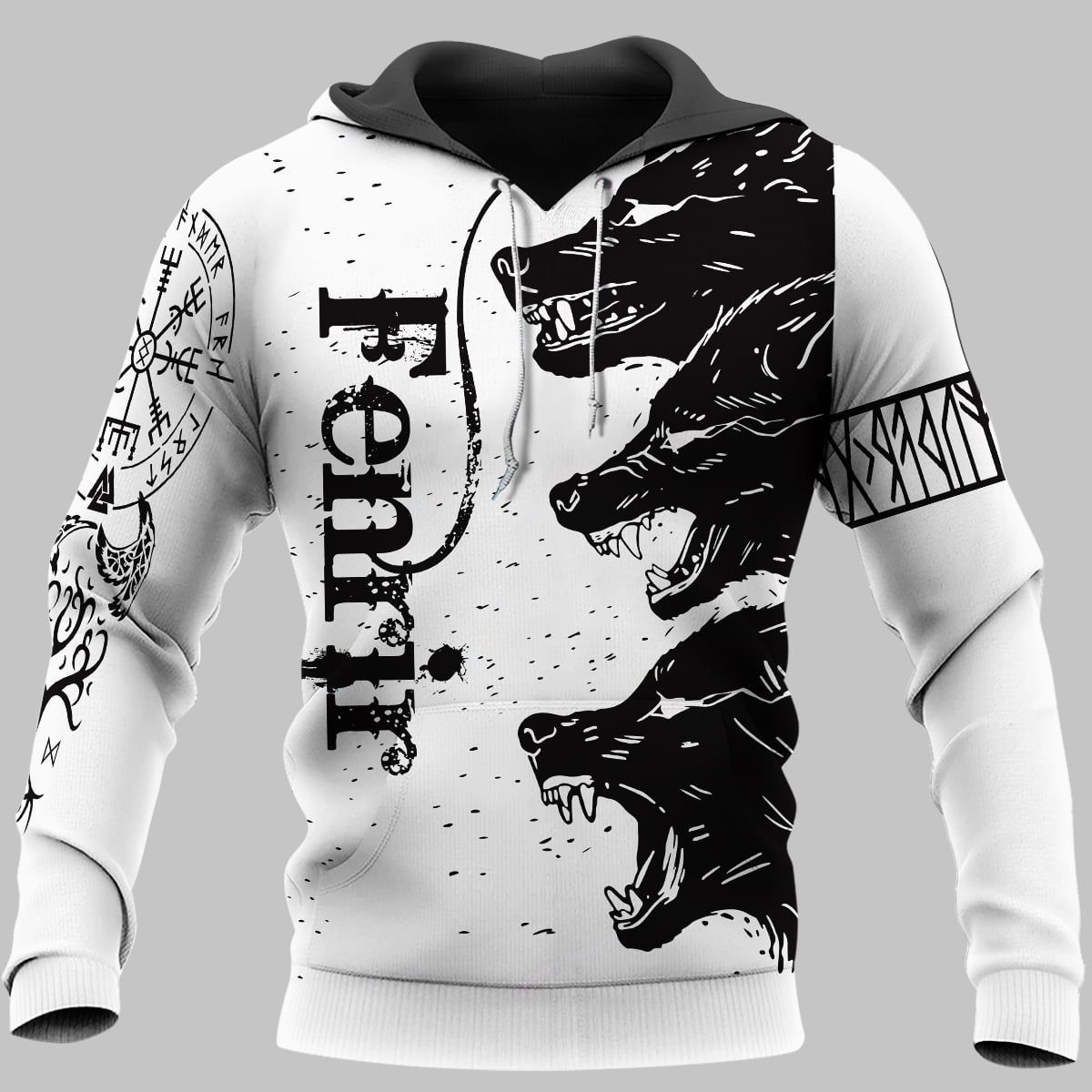 Fenrir Viking wolf black and white 3D Hoodie and T-shirt