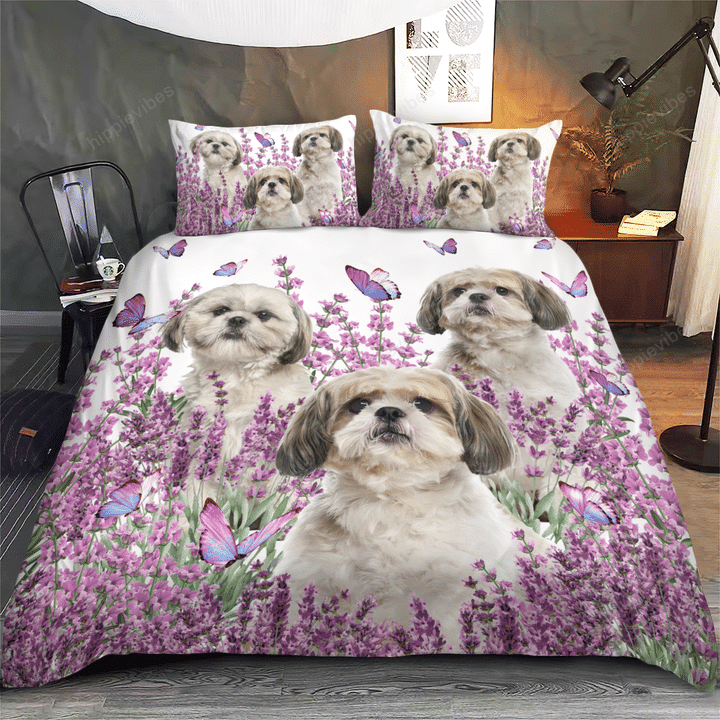 Shih Tzu Pink Flower Bedding Set