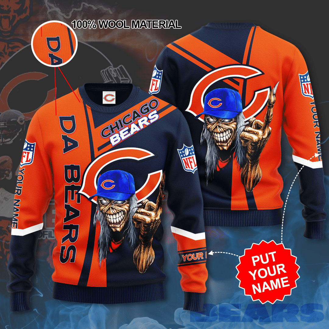 Personalized Chicago Bears skull Sweater
