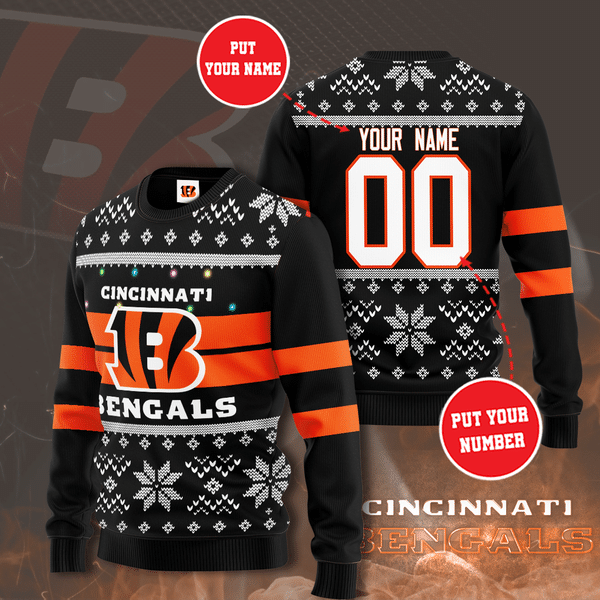 Custom Name Number Chicago Bears Christmas Sweater
