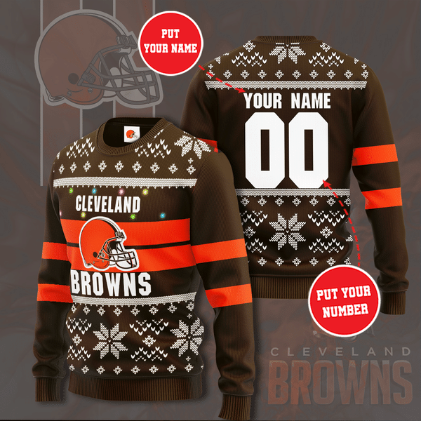 Personalized Name Number cleveland browns Christmas Sweater