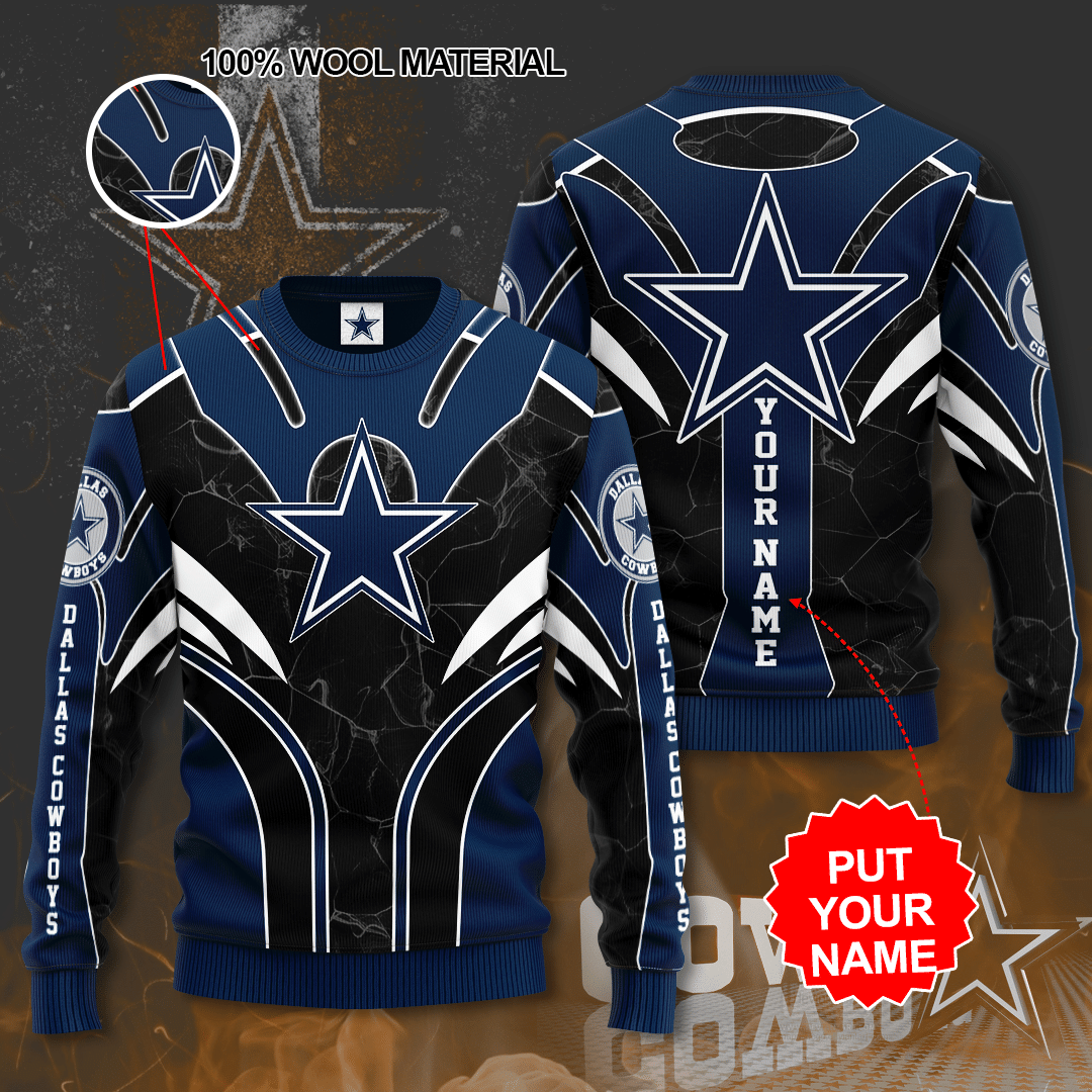 Personalized Dallas Cowboys Full Printed Sweater