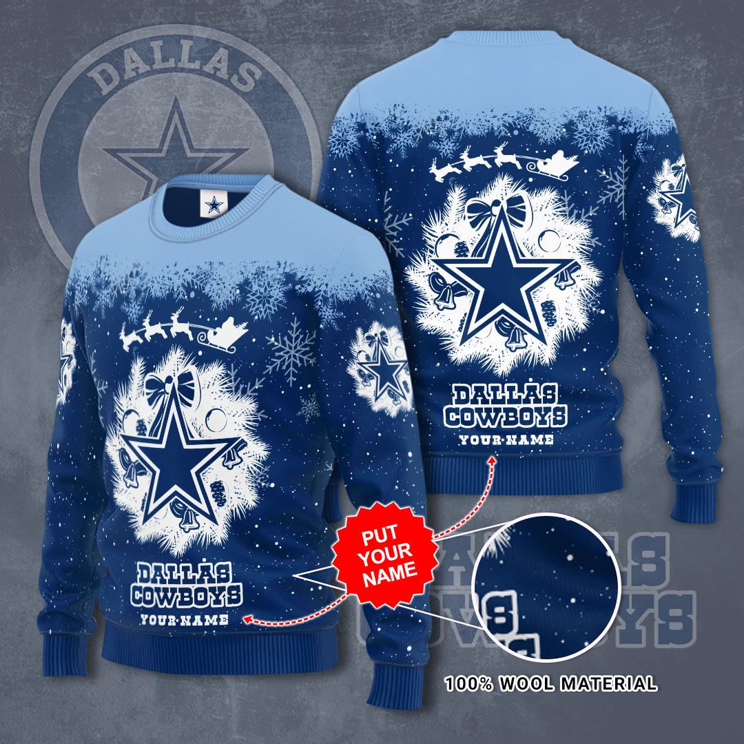 Custom Name Dallas Cowboy Snow Christmas Sweater
