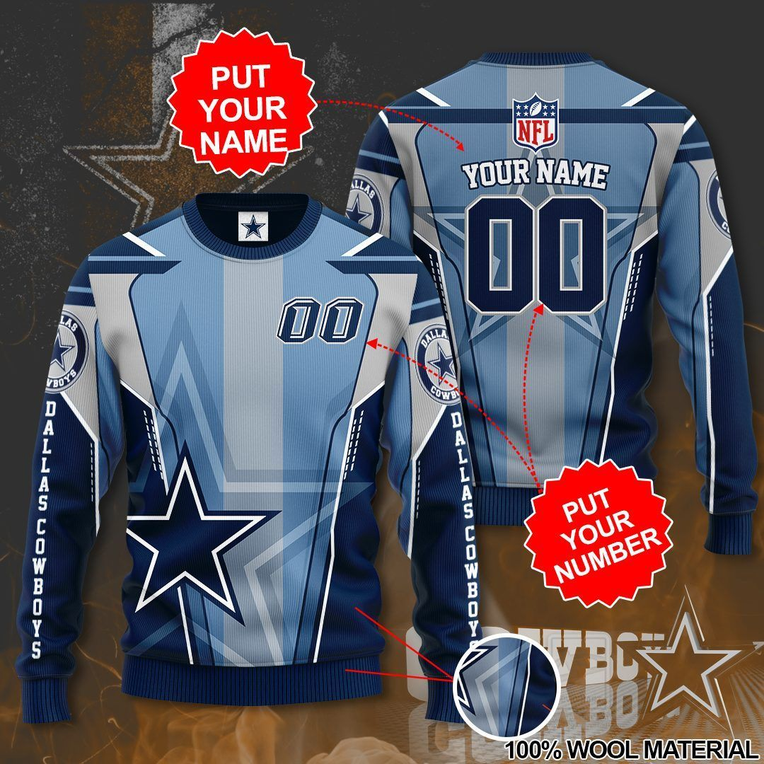 Personalized Name Number Dallas Cowboys Sweater