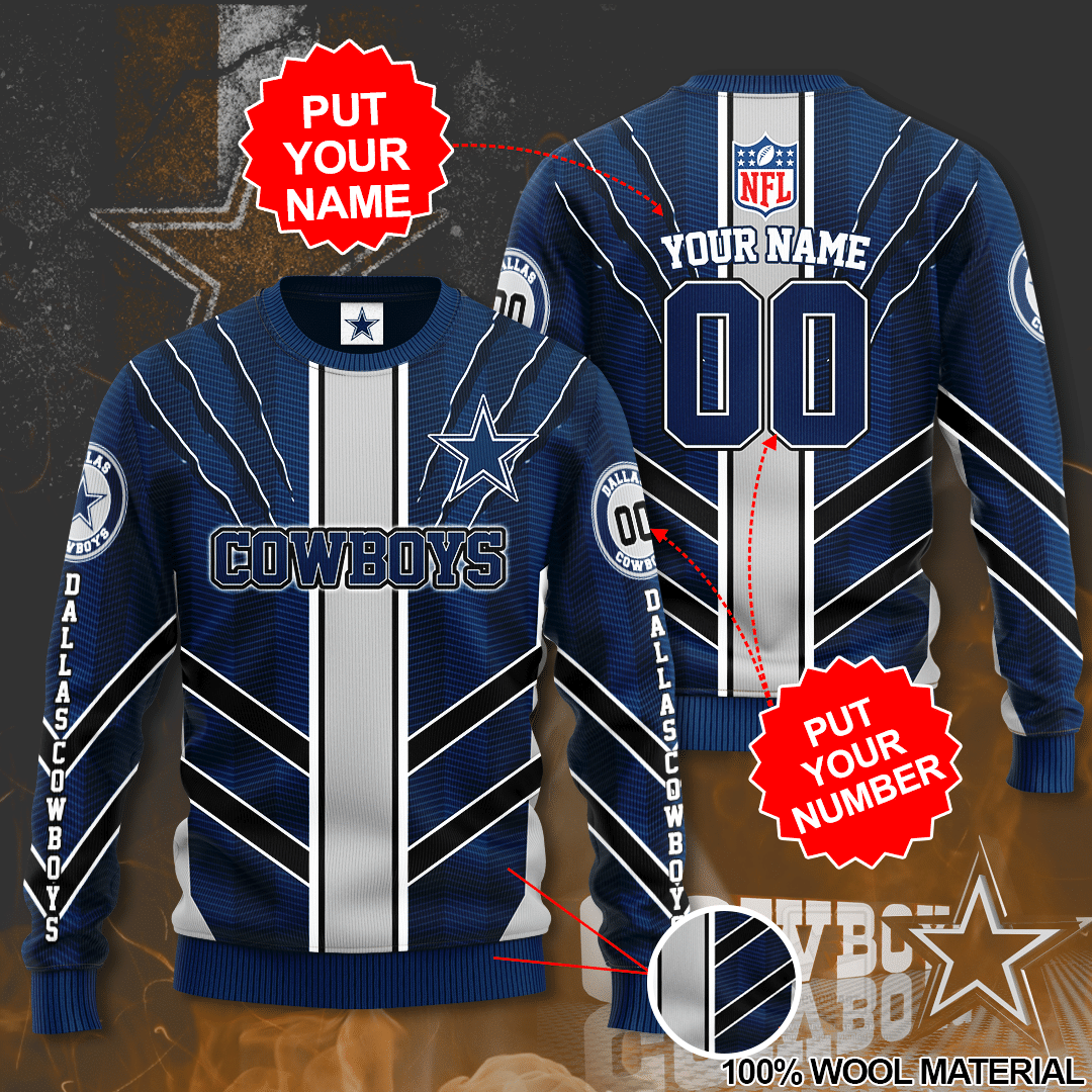 Personalized Number NFL Dallas Cowboys Sweater