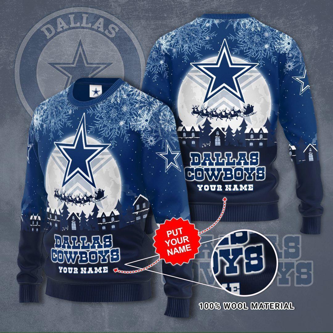 Personalized Dallas Cowboy Christmas Night Sweater