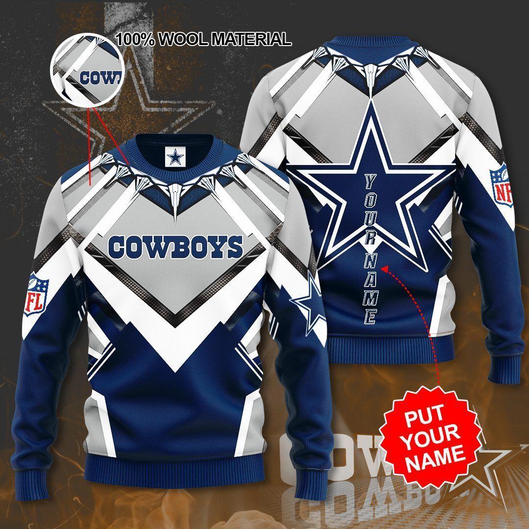 Custom Name Dallas Cowboys Big Star Sweater