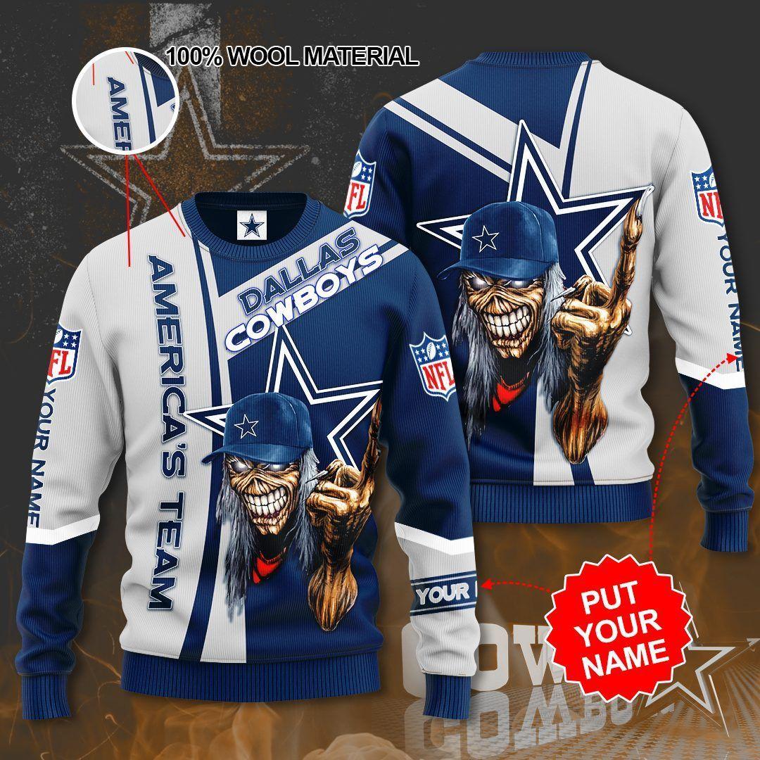 Custom Name NFL Dallas Cowboys Skull Sweater