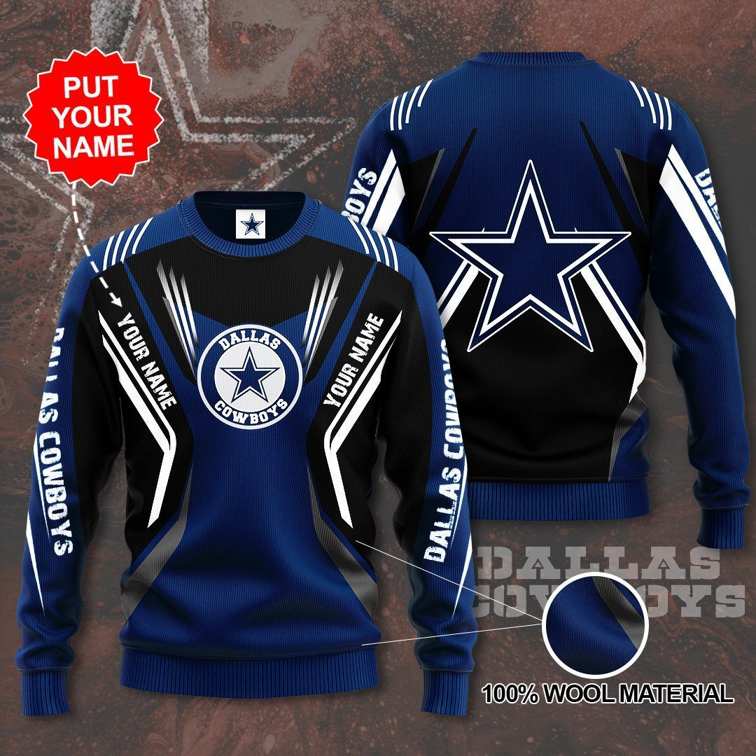Custom Name Dallas Cowboys black navy Sweater