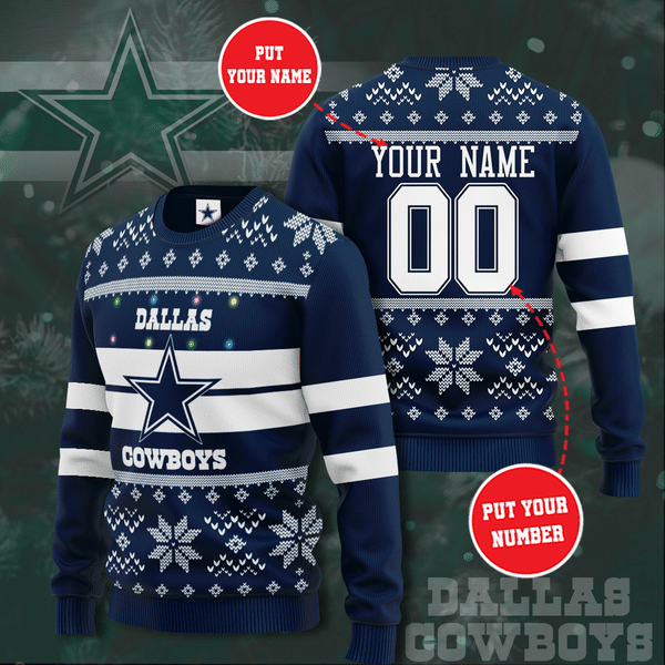 Personalized Dallas Cowboys Christmas Sweater