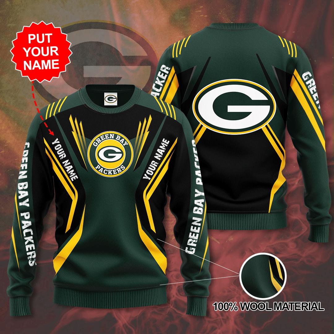 Custom Name NFL Green Bay Packers Sweater