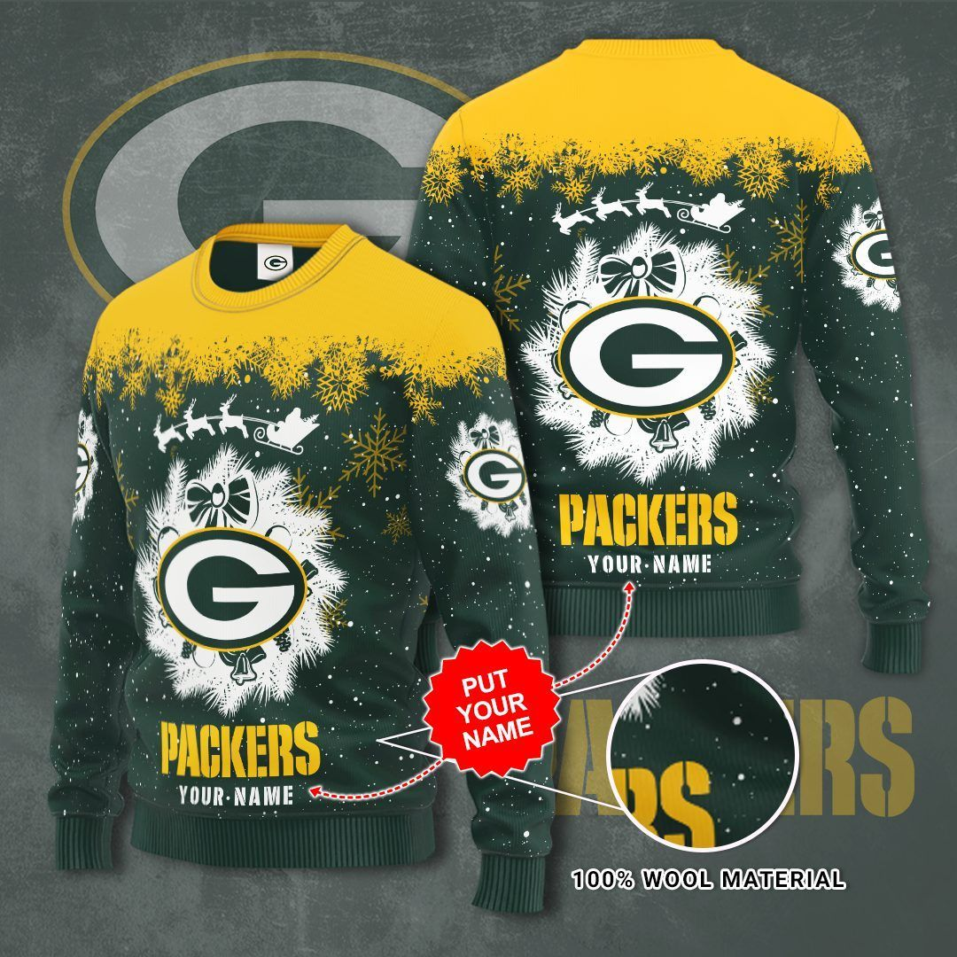 Personalized Green Bay Packers Christmas Sweater