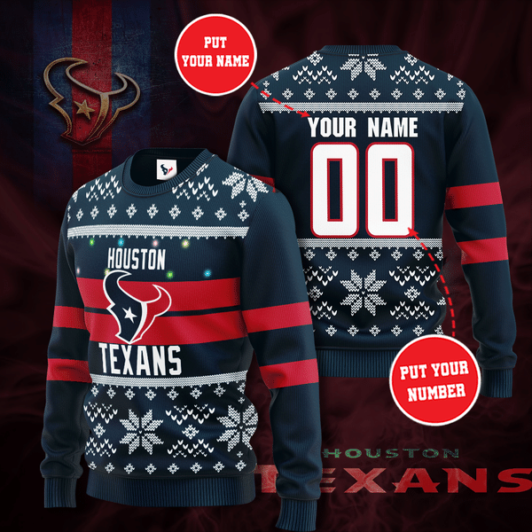 Personalized Houston Texans Christmas Sweater