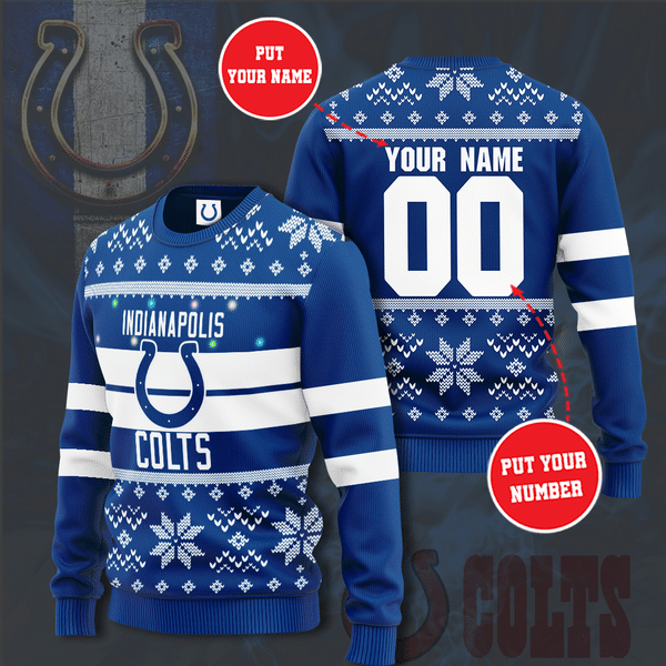 Custom Name Number Indianapolis Colts Christmas Sweater