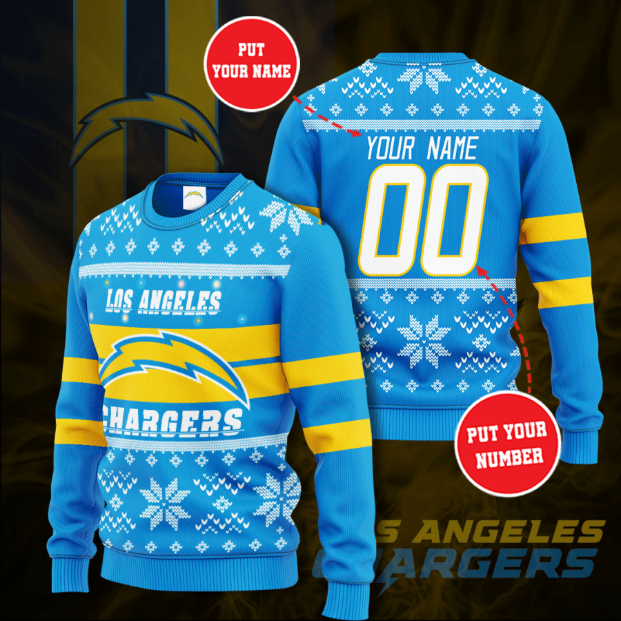 Personalized The Los Angeles Chargers Christmas Sweater