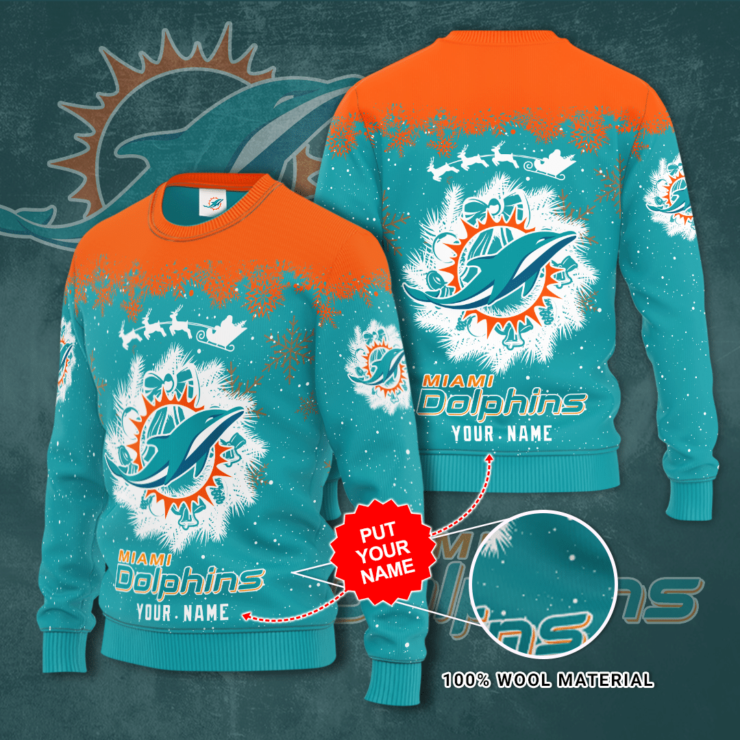 Personalized Miami Dolphins snow Christmas Sweater