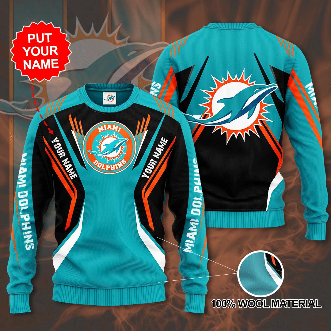 Custom Name Miami Dolphins Sweater