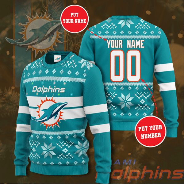Custom Name Number Miami Dolphins Christmas Sweater